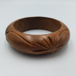Jewelry - Carved Domed Real Wood Bangle Bracelet